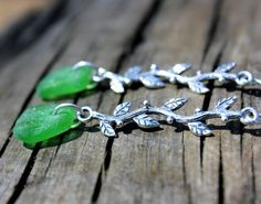 Green Sea Glass Earrings  Sterling Silver by SeaglassReinvented, $40.00