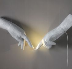 """#Lights, #PaperMache, #Wall Handmade wall decor light from recycled materials inspired from Michelangelo's paint """"The creation of Adam"""" Materials: paper mache, fishing line, acrylic, led light.   More information: pop Renaissance Facebook page ! Submitted by: Manos"""