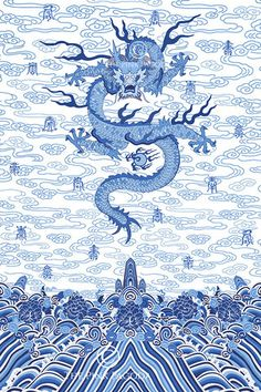 Chinese Imperial Dragon Robe in Blue and White , Art Print - TPP, The Pink Pagoda  - 1