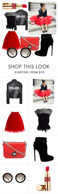 """""""Red Tulle Love"""" by poisonivyxx ❤ liked on Polyvore featuring Vetements, Louis Vuitton, Prada, Alaïa, Miu Miu, Yves Saint Laurent, red, skirt and tulle"""