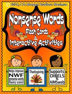 This Common Core Standards aligned product offers interactive and engaging activities that will help all students learn how to decode nonsense words and improve their nonsense words fluency – NWF - test scores! This product is very useful for whole group instruction, one-on-one, small group, and as part of RTI /intervention process. Also very beneficial for ESL, ELL, Speech, SPED students and homeschoolers. Students will have a higher accuracy rate for both AIMSweb and DIBELS NWF tests.