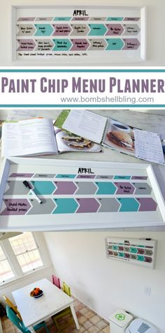 This simple tutorial shows how to make a menu planner calendar using paint chips. Perfect to personalize kitchen decor! Paint Chip Art, Paint Chips, Cool Diy, Fun Diy, Diy Eis, Paint Chip Calendar, Planning Calendar, Meal Planning, Tips