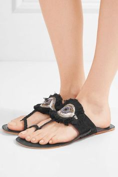 7a03ecbe03a2 Figue - Evil Eye embellished suede and leather sandals