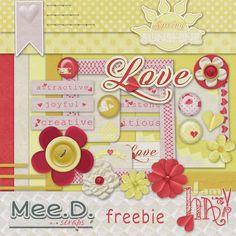 Mee scrapbook kits free download: Freebie kit Red & yellow spring