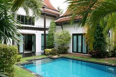 THAI HOUSE, 2 BEDROOM, PRIVATE POOL Sale Price: 11,900,000.- THB. Thai House style Bali are located on Pratamnak Hill between Soi 5 and Soi 6, Land size 332 Sqm, Living size 145 Sqm, 2 bedrooms, 2 bathrooms with 1 bathtub, fully furnished, European Kitchen, fridge, full air cons, living room, dining area, flatscreen TV, internet, tropical garden with private pool, close to the beach, 24hr security.