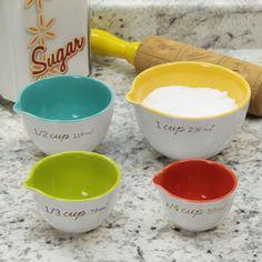 Rainbow Stoneware Liquid Measuring Cup Set | Kitchen Accessories | RetroPlanet.com