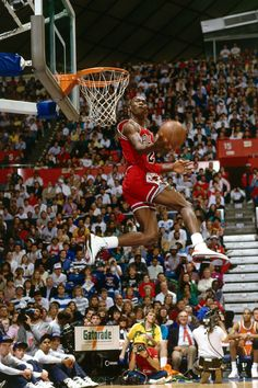 Michael Jordan of the Chicago Bulls goes for a dunk during the Slam Dunk Competition, part of the 1987 NBA All-Star Weekend at the Kingdome in Seattle, Washington. Get premium, high resolution news photos at Getty Images Love And Basketball, Basketball Legends, Basketball Players, Houston Basketball, Basketball Shoes, Basketball Stuff, Jordan Basketball, Soccer Pics, Basketball Motivation