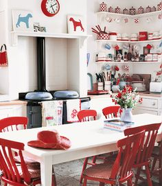 Go Bold Red and white checkered 1930s Kleenware and ceramics perk up kitchen shelves.