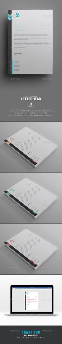 Corporate Letterhead Word Template with super modern and Corporate look.
