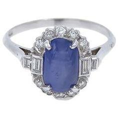 Art Deco Star Sapphire Diamond Platinum Ring
