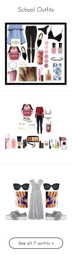 """School Outfits"" by mcadamsa on Polyvore featuring Nicholas Kirkwood, Victoria's Secret, Boohoo, Hanky Panky, Gucci, MAC Cosmetics, Topshop, Jennifer Meyer Jewelry, Lokai and Nadri"