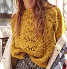 "Women's sweater with knitting with a central pattern. The main fabric is knitted with a pattern of ""Blackberry"" or ""Rosehip"" Baby Knitting Patterns, Lace Knitting, Knit Crochet, Sewing Patterns, Knit Lace, Jumpers For Women, Sweaters For Women, Vest Pattern, Cute Fall Outfits"