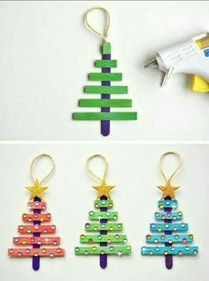 In this DIY tutorial, we will show you how to make Christmas decorations for your home. The video consists of 23 Christmas craft ideas. Popsicle Stick Christmas Crafts, Kids Christmas Ornaments, Christmas Crafts For Kids To Make, Handmade Christmas Decorations, Preschool Christmas, Christmas Activities, Craft Stick Crafts, Holiday Crafts, Christmas Diy