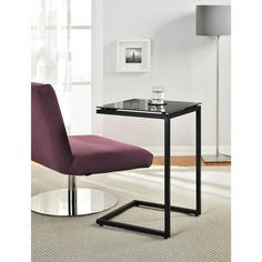 The Glass Top C Table is a perfect end table or work space. Slide it up to the couch and you can work on your laptop or eat your dinner! With its multi-function and good looks, you will love this table in every color!
