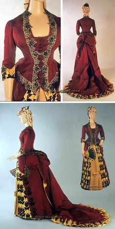 Dinner or evening gown, Mme Marie Schmidt, New York, ca. 1884–85. Burgundy silk faille and gold silk satin with gold lace and garnets. Kent State Univ. Museum