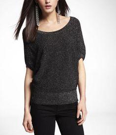 METALLIC WEDGE SWEATER at Express @expresslife #metallic #express #black #sweater #clothing #fashion