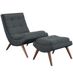 Modway Ramp Fabric Lounge Chair and Ottoman | AllModern