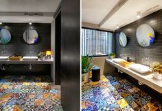 Amazing bathroom. Love the simple, black wall tiles against the colorful floor tiles! Such a great room.