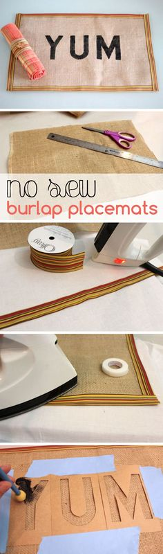 A no-sew burlap placemat tutorial just in time for Thanksgiving! www.ehow.com/...