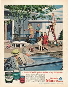 """1961 BENJAMIN MOORE vintage magazine advertisement """"A little MOORE paint"""" ~ painted especially for Benjamin Moore & Co. by Steven Dohanos -- A little MOORE paint makes a big difference - Think of the future when you choose an outside paint -- make it bright with Benjamin Moore. ~"""