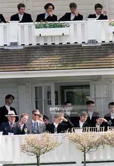 Prince Harry Sits With Prince Charles While Prince William Remains Upstairs With Friends At The Eton Boys' Tea Party At The Guards Polo Club, Windsor.
