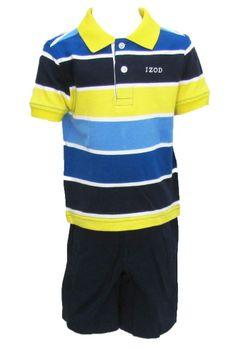 IZOD Boys Navy Blue & Yellow Stripe Pique Polo Shirt & Khaki Shorts Set NWT