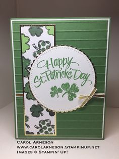 Holiday Greeting Cards, Greeting Cards Handmade, Cricut Cards, Stampin Up Cards, St Patricks Day Cards, San Patrick, St Pats, Art Impressions, Card Crafts