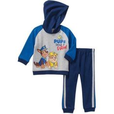 Paw Patrol Newborn Baby Boy Hooded Fleece Top and Pant 2 pc set, Size: 12 Months, Multicolor