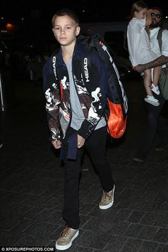Romeo Beckham wearing Head Radical Supercombi Tennis Bag and Vans Desert Cowboy Era 59 in Khaki