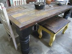 mexican door repurposed into dining table