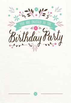 Flat Floral - Free Birthday Invitation Template | Greetings Island