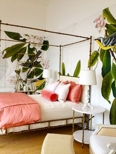 Inspirations On The Horizon: Coastal Tropical Bedrooms that will have you taking design risks in your own coastal home. Dream Bedroom, Home Bedroom, Master Bedroom, Bedroom Decor, Bedroom Ideas, Pretty Bedroom, Bedroom Inspo, Bedroom Furniture, Summer Bedroom