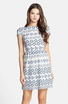 Maia Print Lace Fit & Flare Dress available at #Nordstrom