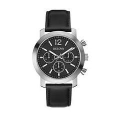 f23eb6d295f Bulova Men's Chronograph Black Leather Strap Watch Bulova Mens Watches,  Watches For Men, Ankle