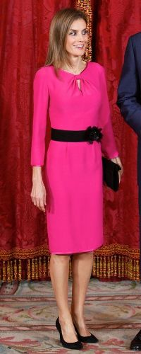 1 Oct 2014 - luncheon in honor of President of Honduras.   Felipe Varela fuchsia pink keyhole dress