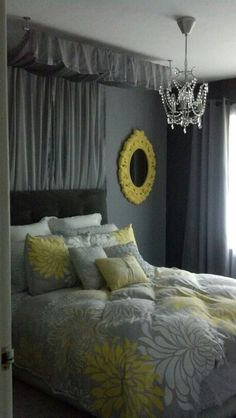 My current gray and yellow guest bedroom.