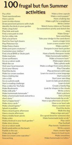 100 frugal but fun Summer activities . Family Activities for Summer. And Family Activities for fun and Kids. Summer Activities For Kids, Summer Kids, Family Activities, School Holiday Activities, Children Activities, School Holiday Ideas, Outdoor Activities For Adults, Weekend Activities, Children Crafts