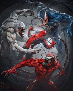 Spiderman Venom, Marvel Venom, Spiderman Art, Venom Comics, Marvel Comics Art, Marvel Heroes, Superhero Poster, Superhero Villains, Amazing Spiderman