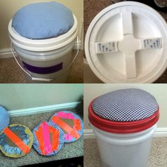 Lds trek 5 gallon bucket seat cushion! Made with cardboard as the base, batting for cushion, fabric to cover over it, duct tape for fabric to be stuck on to the cardboard, and Velcro to stick onto the lid! Super easy, super fast, super affordable, super fun, and SUPER CUMFY!