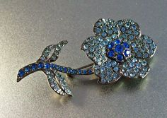 Vintage Carolee Rhinestone Brooch Blue Flower by LynnHislopJewels