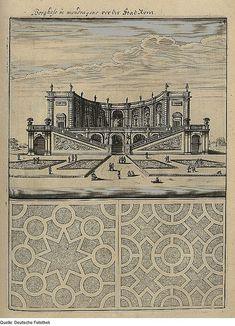 "Villa Mondragone with plans of the pleasure garden, Rome, 1664, in ""Architectura Curiosa Nova"", by Georg Andreas Böckler"