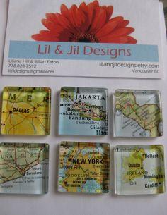 Glass Fridge Magnets World Maps 6 tiles 1x1 by LilandJilDesigns