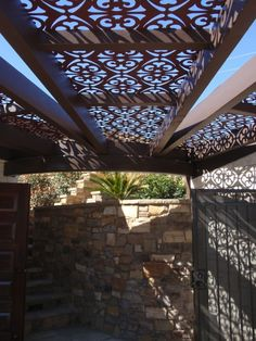 Inspirational: This is an amazing idea! Decorative panels in between pergola rafters! I will absolutely love to have an INTEX product like this in our new catalog. :)