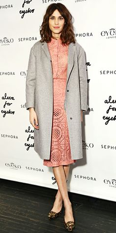To celebrate her Eyeko collaboration at Sephora, Chung wore a blush pink lace dress that she topped with a gray overcoat and leopard print loafers.