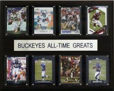 "NCAA Football Ohio State Buckeyes All-Time Greats Plaque by C&I Collectables. $25.00. Full lens cover to protect cards; Perfect for displaying in an office, rec room or bedroom; Ohio State Buckeyes All-Time Great Players; 12"" X 15"" cherry wood plaque; Eight Licensed, Original Trading Cards. Eight of the greatest Ohio State Buckeyes stars are featured on this 12"" X 15"" cherry wood plaque.  The players are presented on genuine licensed trading cards from different manufacturers ma..."