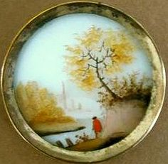 18th C button, reverse painted under glass, set in brass.