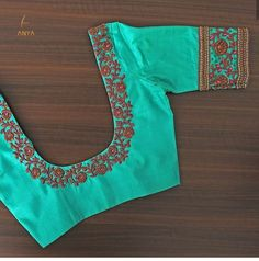 Simple yet elegant this blouse is designed with antique bead antique zardosi kundhan and gold bead. Traditional Blouse Designs, Simple Blouse Designs, Stylish Blouse Design, Blouse Back Neck Designs, Fancy Blouse Designs, Bridal Blouse Designs, Kerala Saree Blouse Designs, Thread Work, Embroidered Blouse