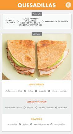 3. Quesadillas #healthy #recipes http://greatist.com/eat/easy-recipe-formulas