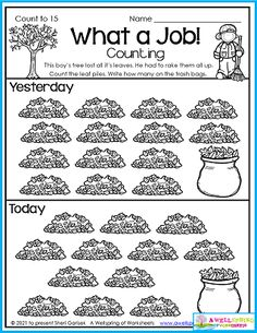 Raking leaves is quite a job, I know from experience. This worksheet is part of my Fall Counting Worksheets for Kindergarten set. With 50 pages of counting fun, there's no end to the learning and engagement your kids will experience. :)