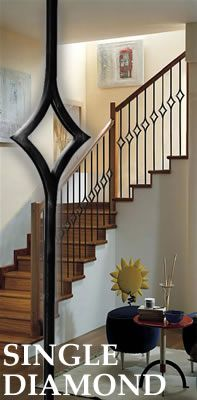 Stair Parts l Iron Baluster l Iron Railings l Stair Hardware Sold individually. This is a sq. x 44 BEAUTIFUL single diamond baluster. Looks great with Double Diamond baluster and Straight Baluster. Very nice. Price shown is for a single baluster. Metal Stair Spindles, Stairs Balusters, Iron Stair Railing, Iron Balusters, Metal Stairs, Staircase Remodel, Staircase Makeover, Bedroom Built In Wardrobe, Modern Railing